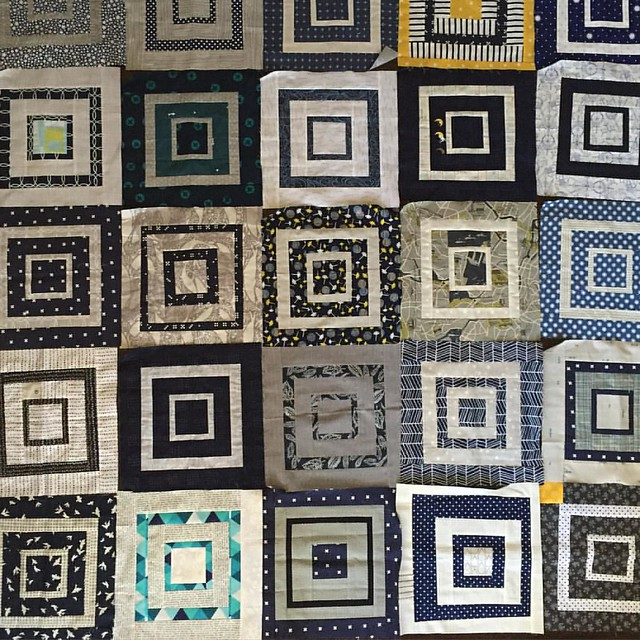 Working on my #stashsewciety quilt for my oldest boy. Only had a few minutes before the bus stop but made that second block on the bottom row - he requested some Aqua/teal