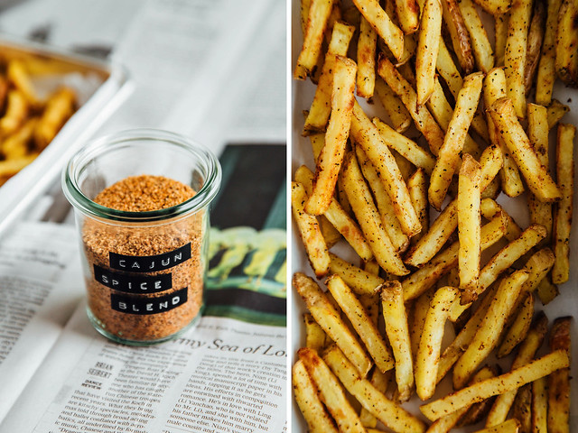 Baked Cajun spiced French fries