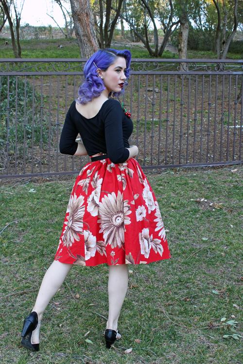 Pinup Girl Clothing Deadly Dames Jailbird Top in Black Red Ruby Vintage Full Skirt