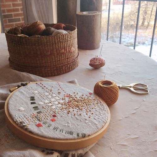 Day 19: seed stitch in the color of winter weeds