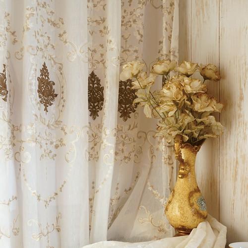 醉夢晨曦 歐式古典繡花 無接縫窗紗布 DB2390004