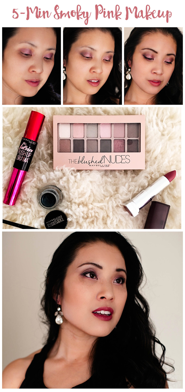 5 minute smoky pink eyeshadow makeup tutorial