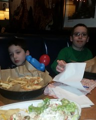 My lil men enjoying there food they luv #tgifridays #jasonandsean