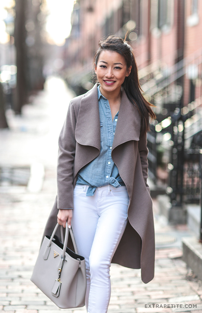 white gray chambray shirt winter to spring outfit