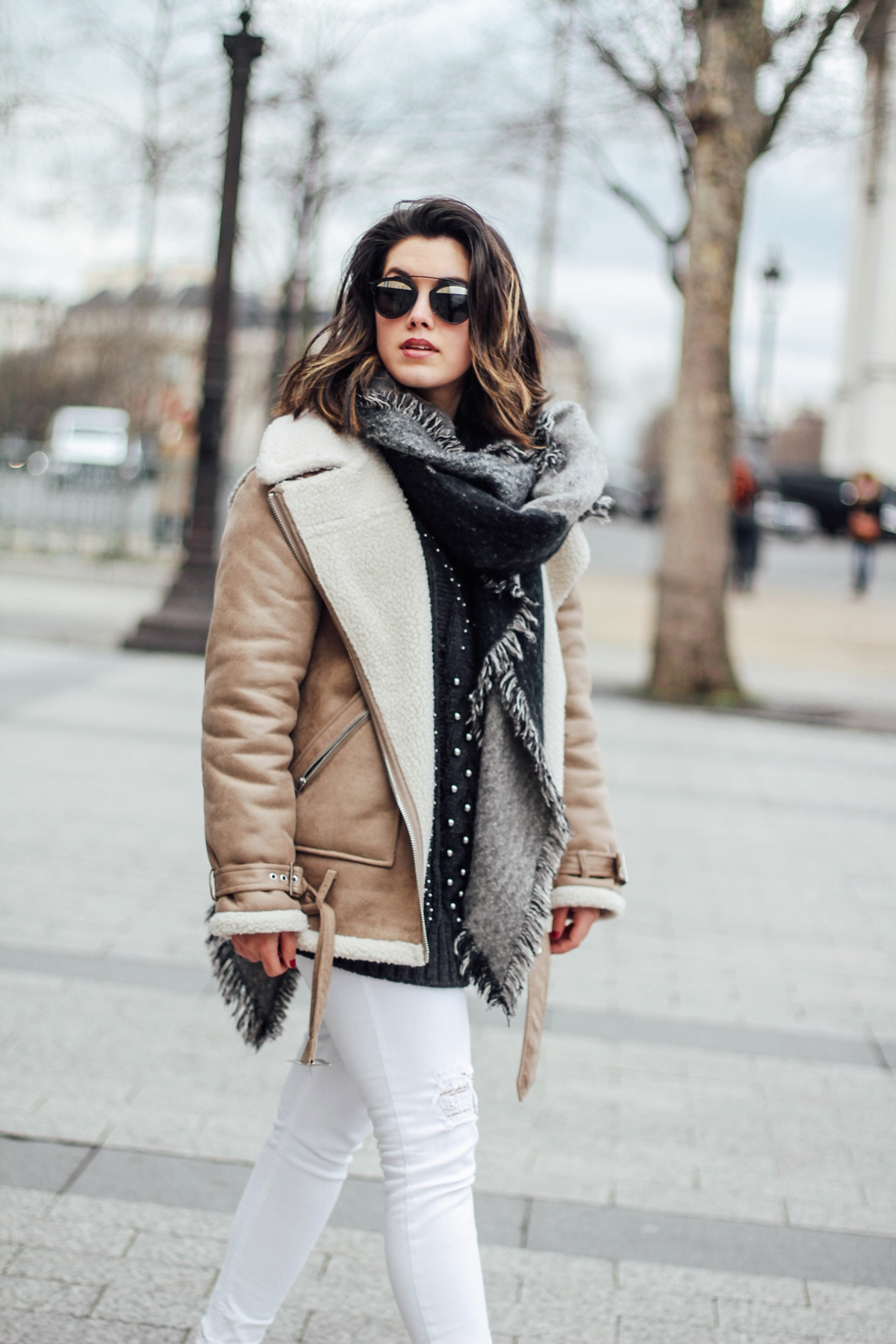 shearling-jacket-beige-isabel-marant-sneakers-streetstyle dior so real sunglasses