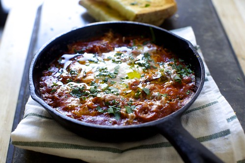 eggs in purgatory, puttanesca-style