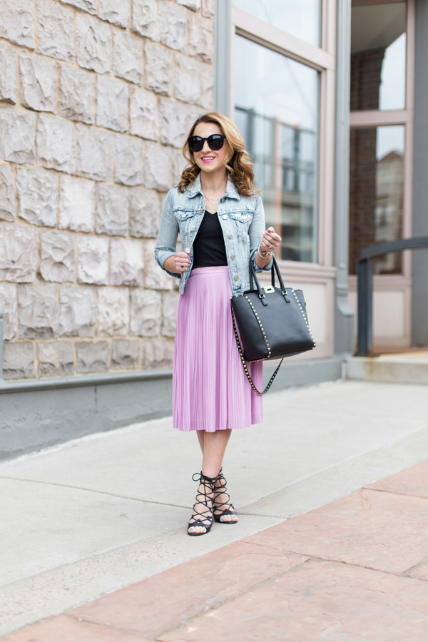 J Crew Pleated Skirt + Calyer Wash Denim Jacket