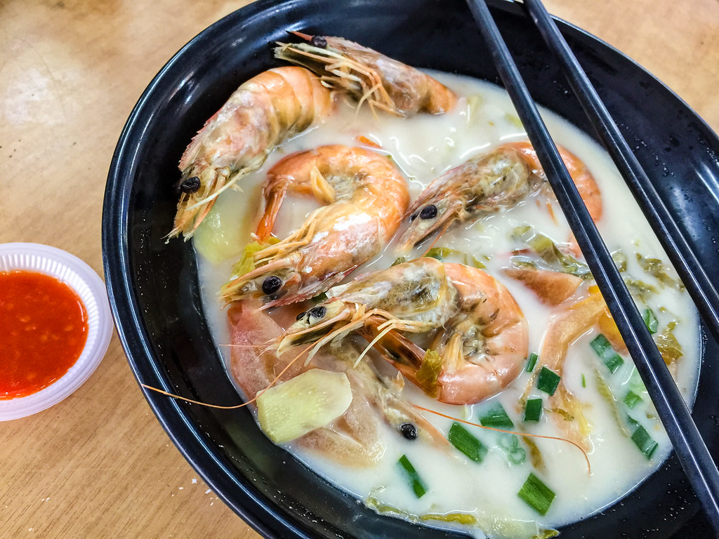 Prawn with original milky salmon fish bone soup