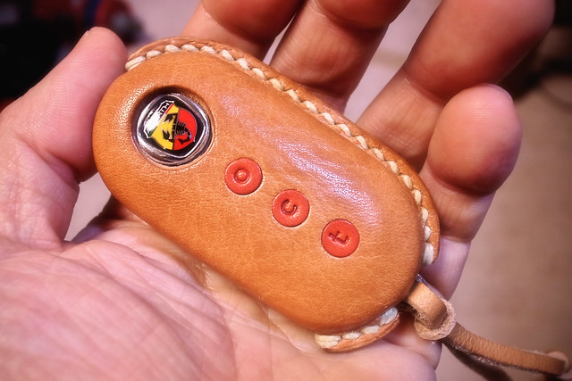 abarth leather key cover front