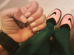 Just love my natural nails...no tips, just my nails and Nexgen powder. ❤❤❤❤ #nexgennails #newnikes #fitbitblaze #overnightshift #lovemynaturalnails #thankyoushakeologyforlongnails