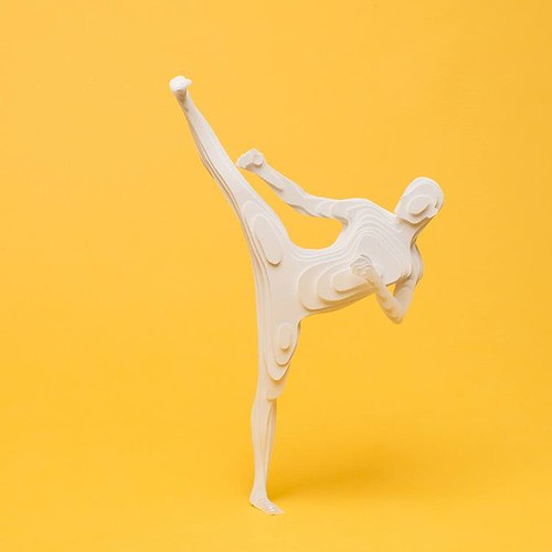 Paper Sculpture Karate Figure by Raya Sader Bujana