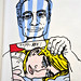 Roy Lichtenstein und sein Bild    ( my drawing ) by ballandor