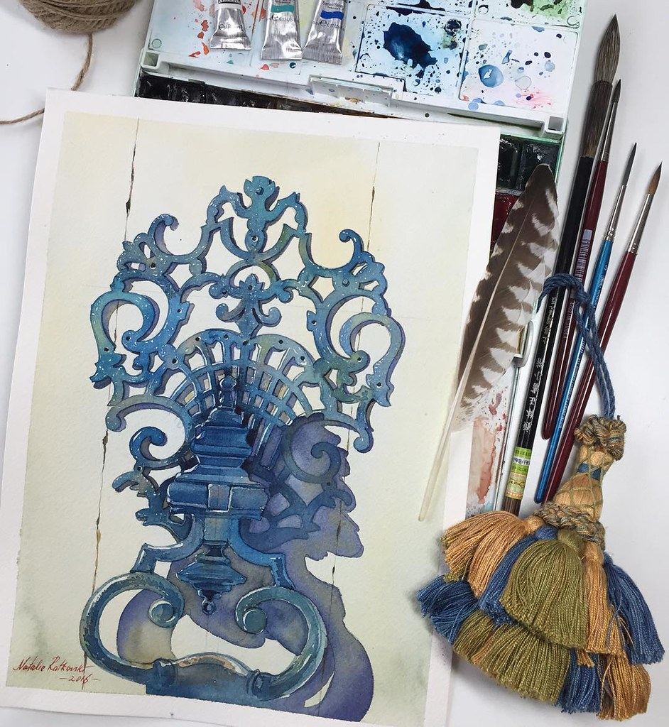 I found this impressive door knocker in Bruxelles, Belgium and I knew, I have to draw it. I wish, one day I'd have a really big house with an imposing door knocker like this one 😊 Watercolor on paper Arches grain fin, 300g/m2, 23x31cm.  ------------