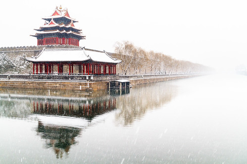 The Forbidden Palace in Beijing under lost in the snow
