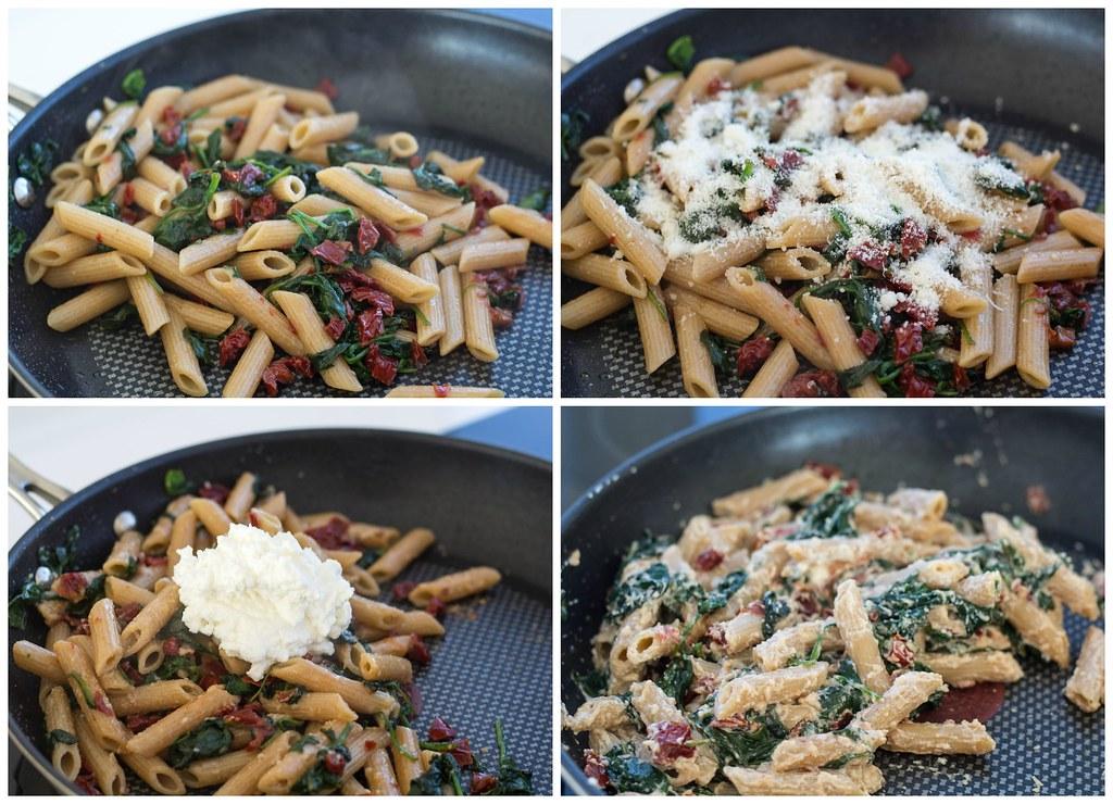 Pasta med varmrøget laks, spinat og ricotta