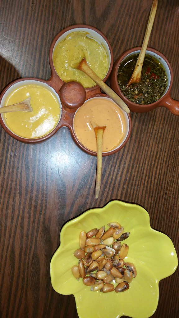 2016-Jan-20 Silvestre - sauces and complimentary corn appetizer
