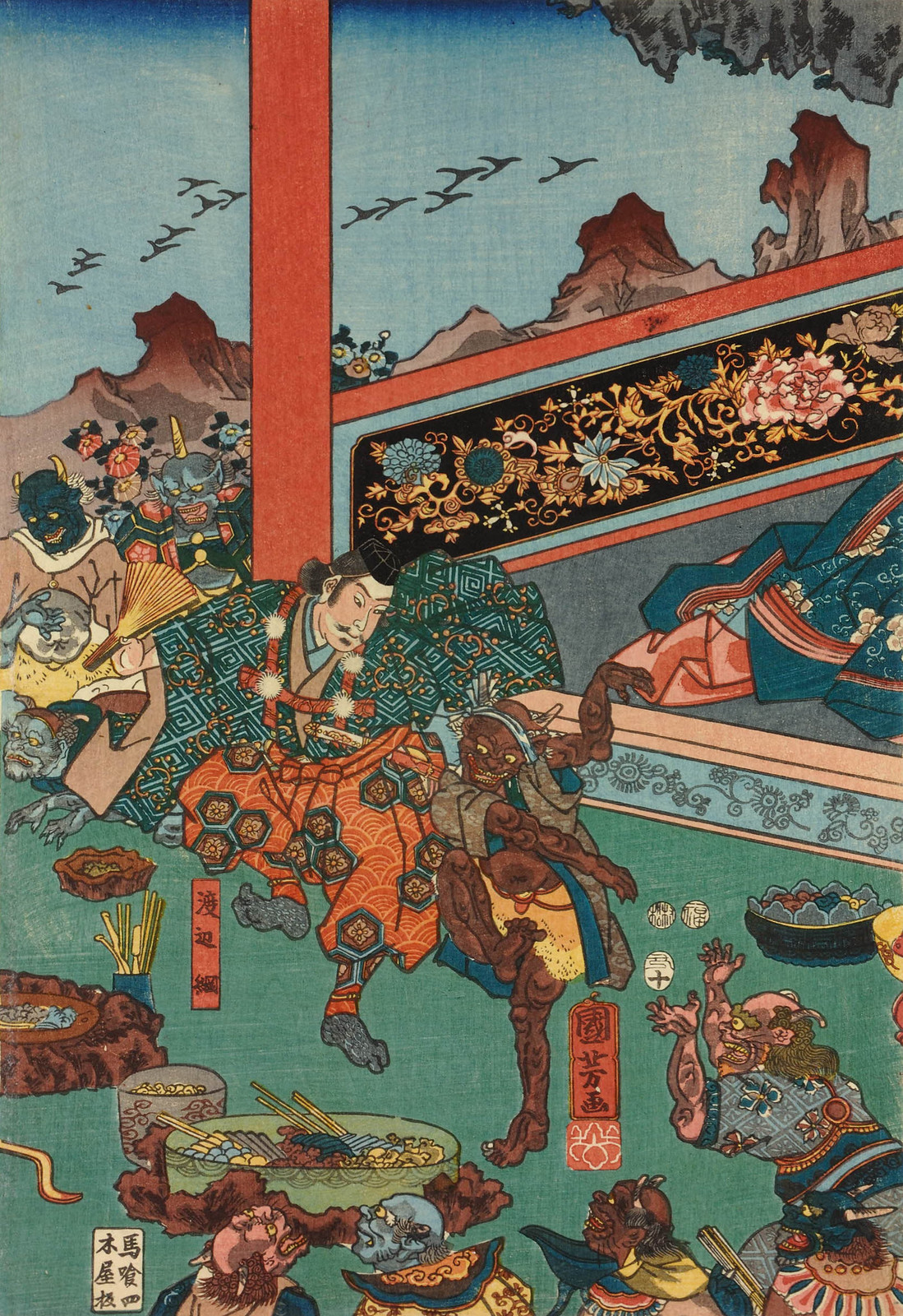 Utagawa Kuniyoshi - Raiko and his retainers entertaining the Shuten-doji and his demons with sake and dancing, 1853 (middle panel)