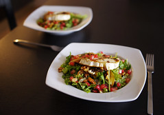 Grilled goat cheese salad with pomegranate