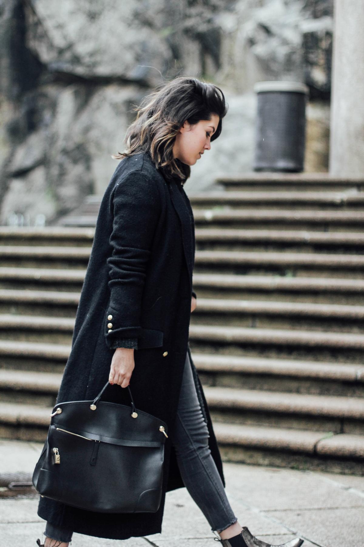 black long coat trafaluc myblueberrynightsblog