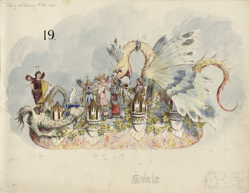 Bror Anders Wikstrom - The White Cat, float design from Krewe of Proteus, 1900