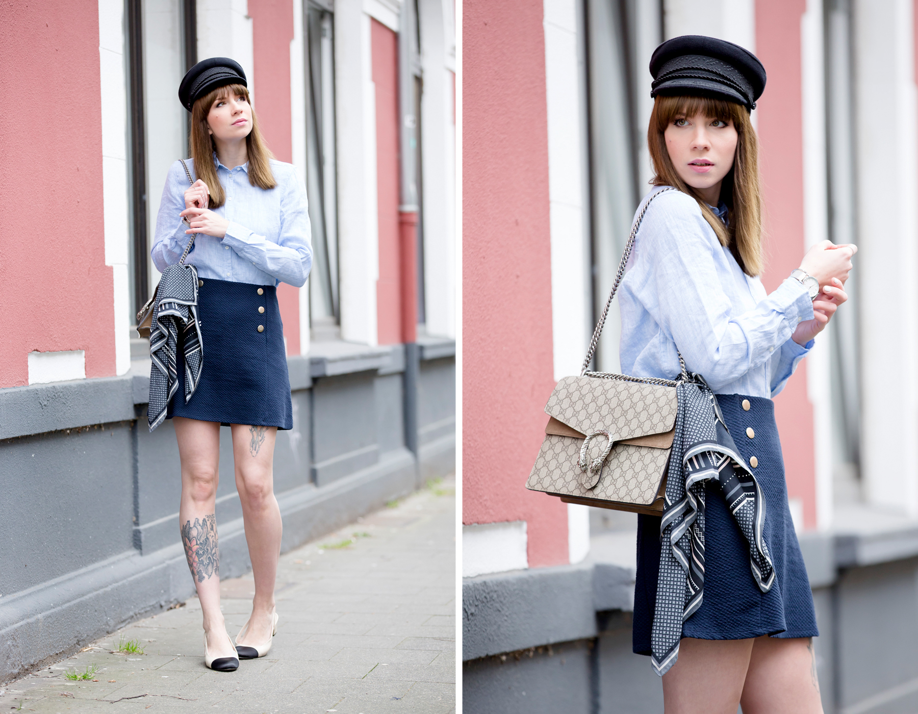 sailor blue french parisienne outfit gucci dionysus chanel luxury fashion blogger modeblogger deutschland hat cute bangs brunette ootd outfit look lookbook cats & dogs ricarda schernus blog 6