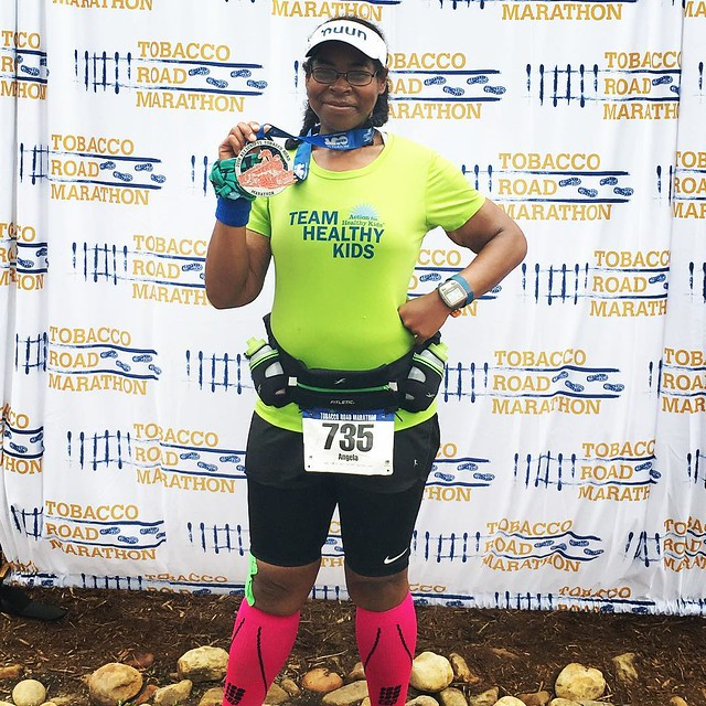 State 17 is on the bag. I finished the Tobacco Road Marathon in 5:36. I want everyone to remember why I started this journey. Weighing 340 pounds I never thought I would be #running anywhere. I started #tourdeangie to show people you can change and nothin
