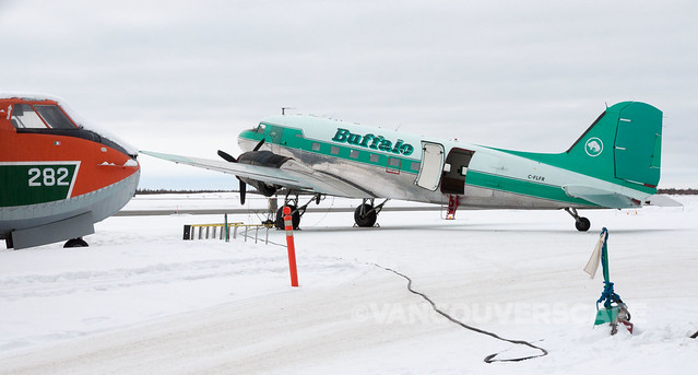 Buffalo and other aircraft at Yellowknife Airport