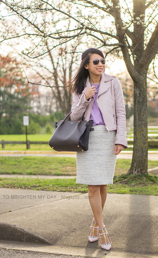 lilac leather jacket, gray silk wrapped pearl necklace, lilac sweater, tweed pencil skirt, watercolor studded flats