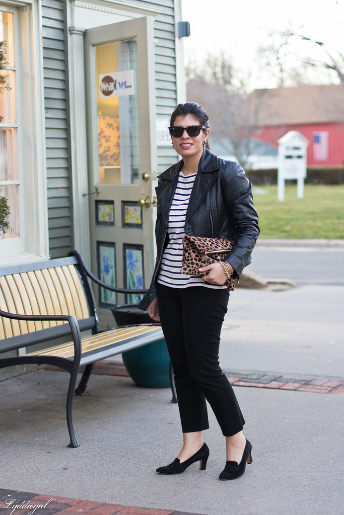 striped tee, black leather jacket, leopard clutch.jpg