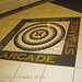 Text: mini-exhibition 1: arcade name & floor mosaic by Su_G