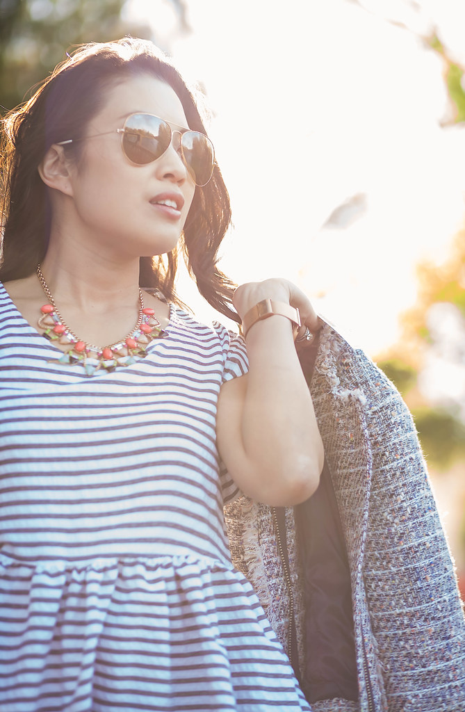 cute & little blog | petite fashion | petite tweed jacket, striped peplum top, statement necklace, ray ban aviators | spring outfit