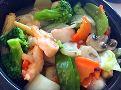 Lunch was a delish mixed seafood and vegetable cal…