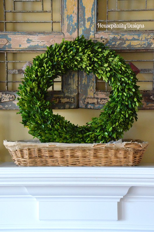 Preserved Boxwood Wreath in Antique French bread basket - Housepitality Designs