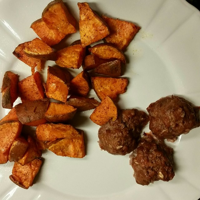 Meatballs and Roasted Sweet Potatoes