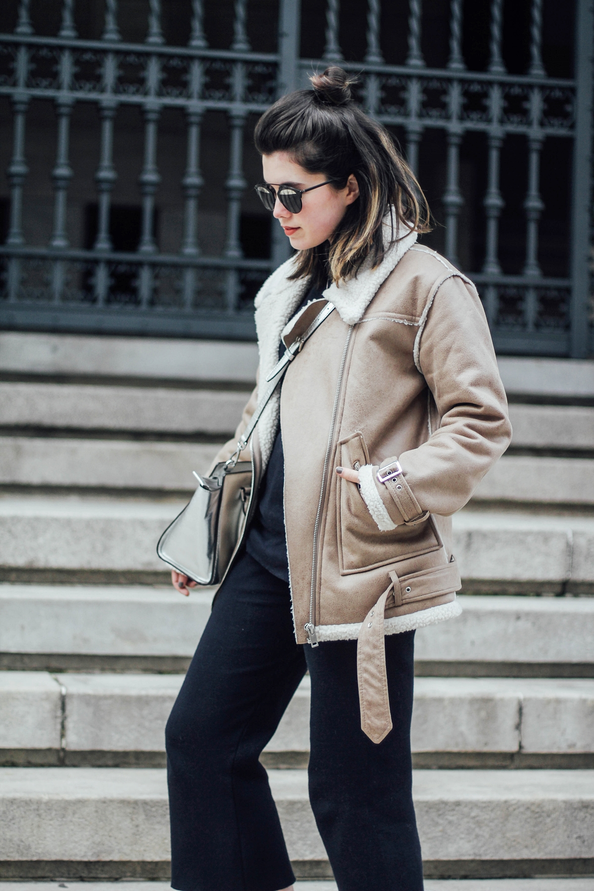 navy-suit-culotte-shearling-jacket-streetstyle