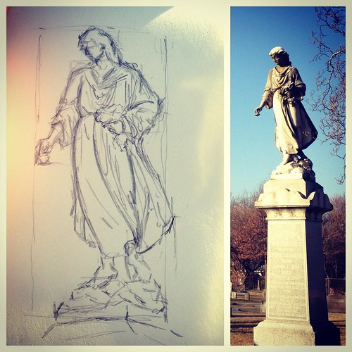 Sketching in Hazelwood Cemetery before work this morning. Just me and the crows.