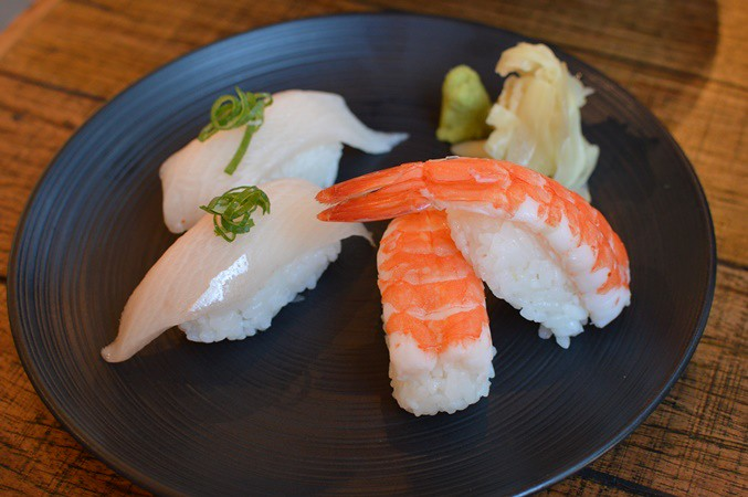 White fish and prawn nigiri