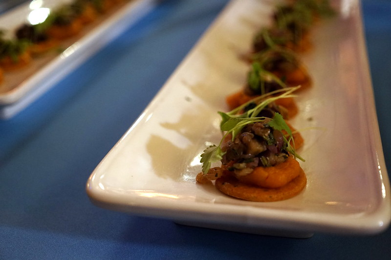 King Edward Hotel Spiced ChickPea Flatbread with Roasted Squash, Eggplant Caviar & Coriander Cress