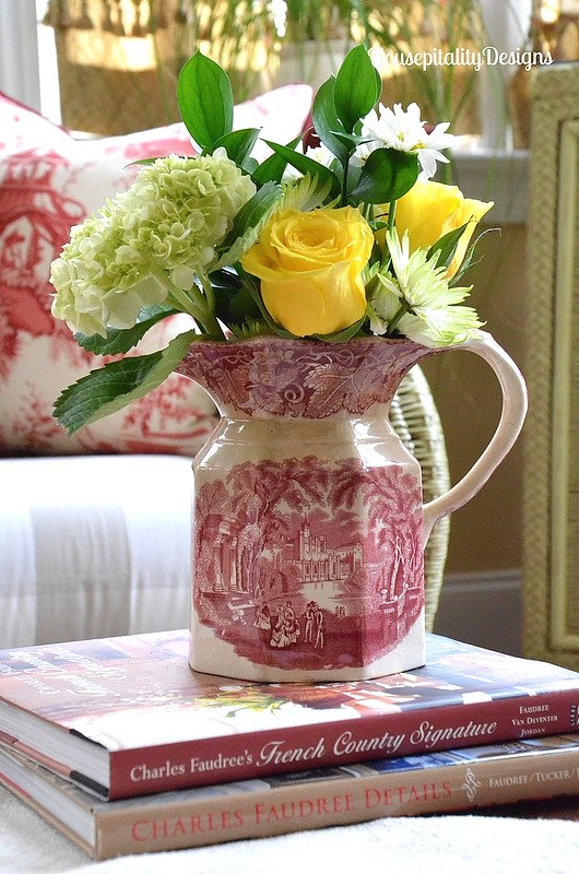 Vintage Red Transferware Pitcher - Housepitality Designs
