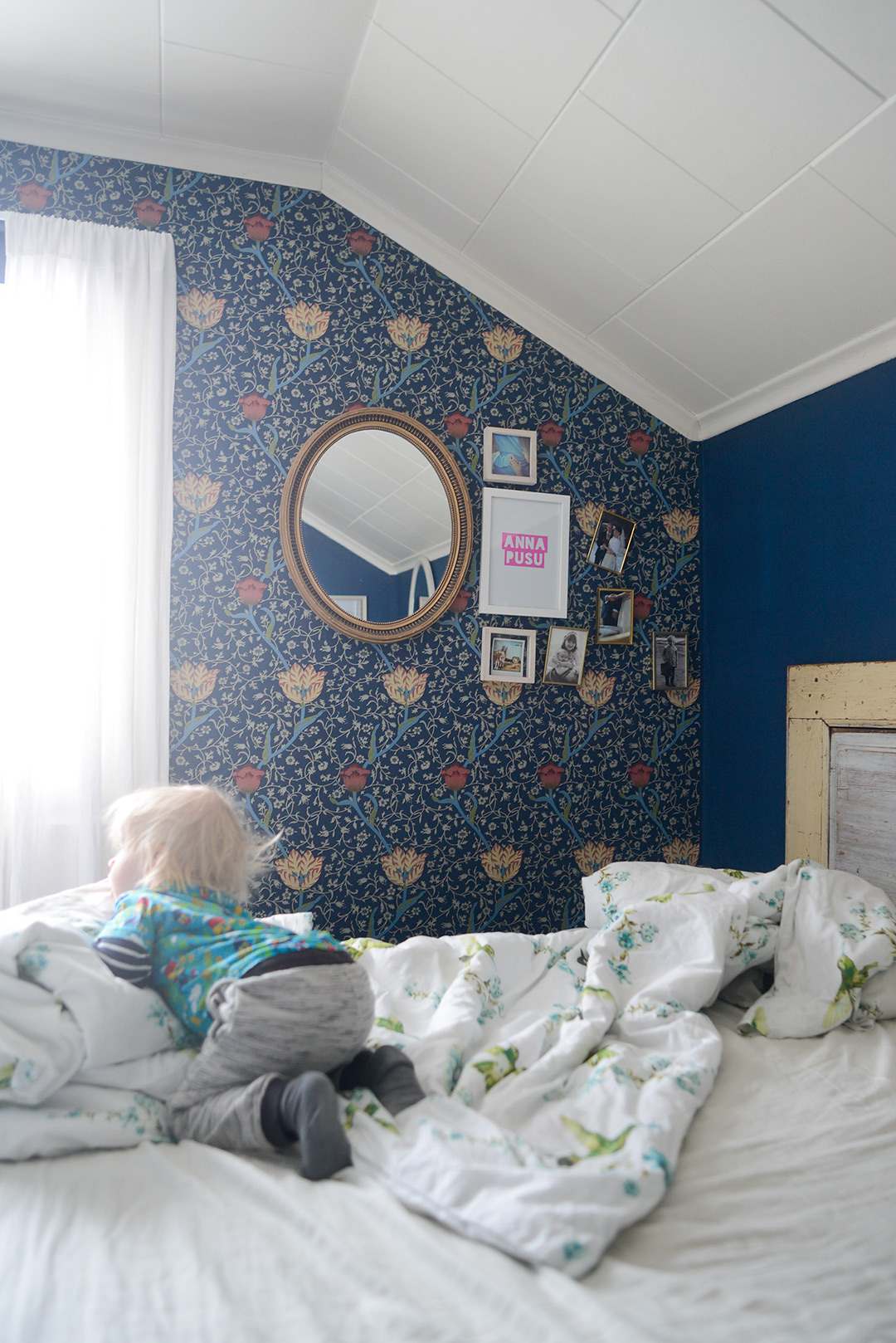 Dark blue bedroom