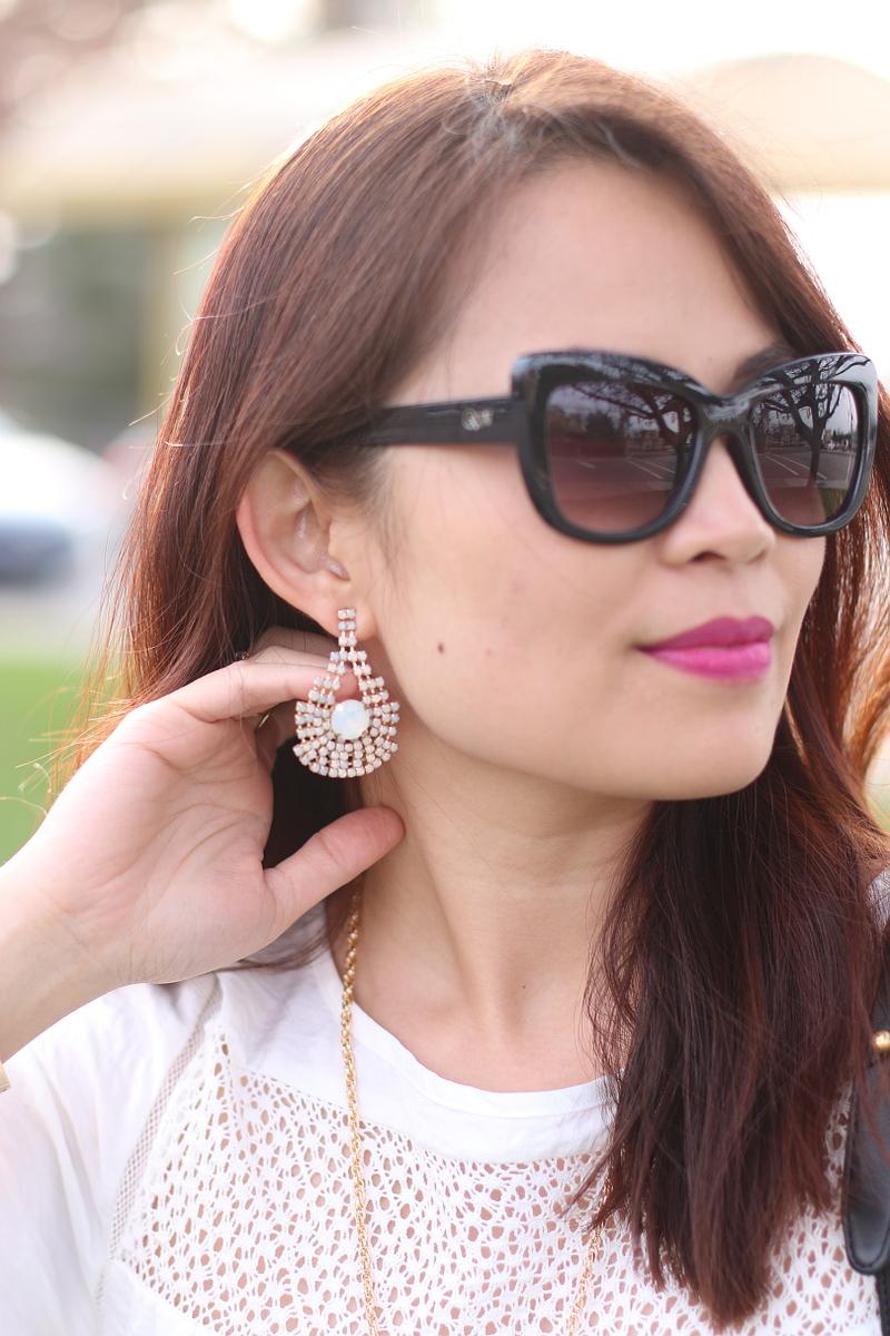 banana republic earrings, quay sunglasses