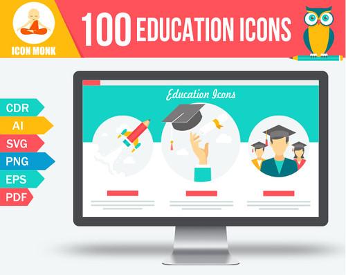 100 Education conceptual Icons