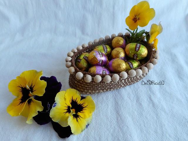 cestino ovale porta-uova con perle legno 4