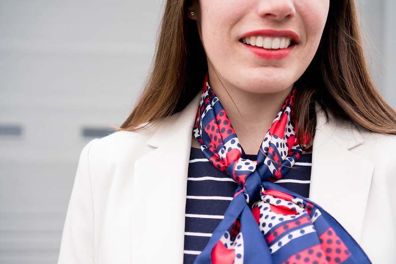 h and m blazer + navy and white stripe tee + navy skirt + vintage silk scarf | Style On Target