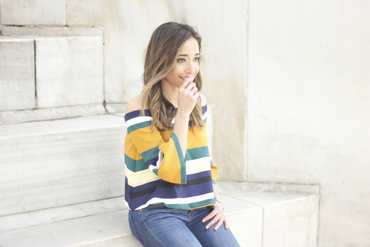 Off The Shoulder Top with stripes jeans heels accessories bag aristocrazy03