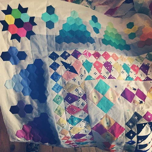 It is 1:56am on 1 April 2016 and I have FINISHED this bloody quilt top!!!! #jenndoesmrsbillingscoverlet is conquered. Tomorrow I'm going to take it out back & shoot it. (Or drive it up to @leanne_mountvincentquilts!) I'm sick of looking at it! And I'd be