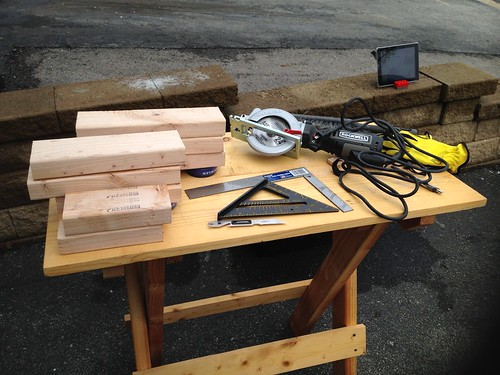 2x4s cut into pieces for step stool