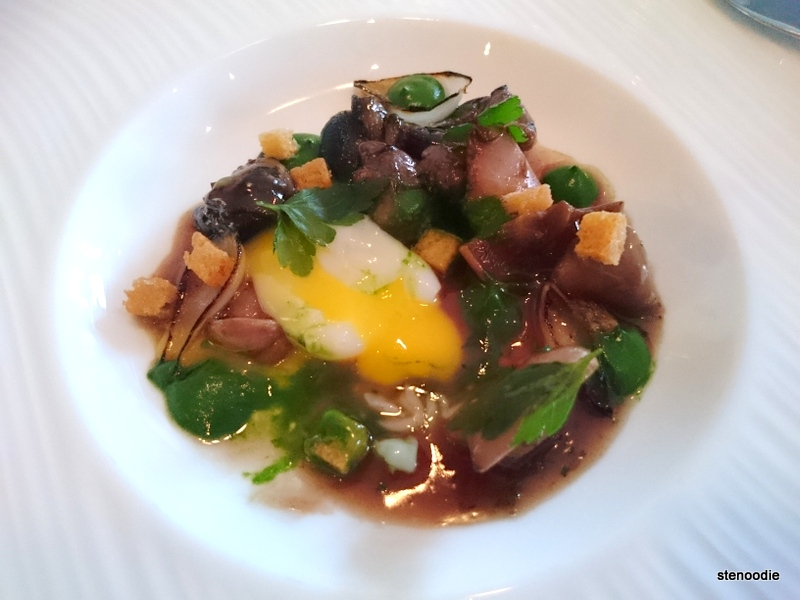 Burgundy Snails, Bluefoot Chantrelles, Parsley, Quail Egg