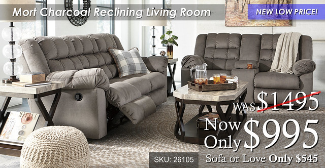 Mort Charcoal Reclining Living Set NLP