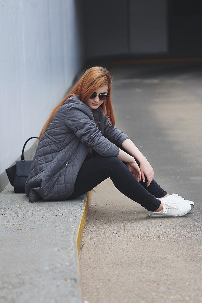 White Sneakers Grey Long Bomber Jacket